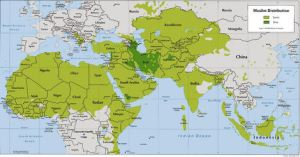 Map showing distribution of Sunni (light green) and Shiite (dark green) Muslims